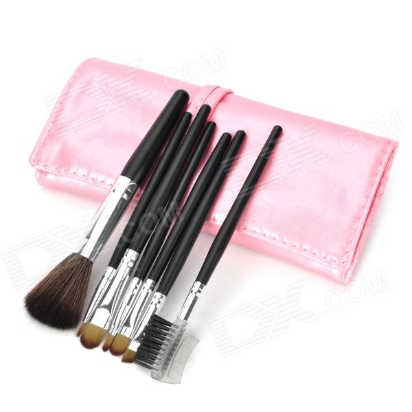Portable 7-in-1 Professional Cosmetic Makeup Brush Set w/ Pink PU Leather Case - Black + Silver