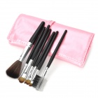 Tragbare 7-in-1 Professional Cosmetic Make-up Pinsel Set w / Pink PU Leder Tasche - Schwarz + Silber