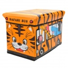 HappyFish Folding Safari Animals Bus Style Padded Seat Stool Toys Storage Box Case - Yellow (Size L)