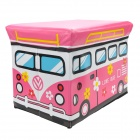 HappyFish Folding Love Bus Style Padded Seat Stool Toys Storage Box Case for Kids - Pink (Size L)