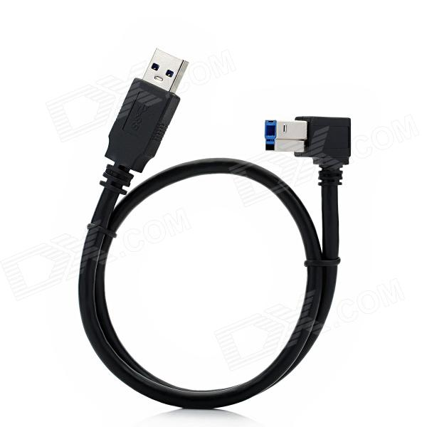 USB 3.0 Type-A Male to Type-B Male Right Angle Data Cable for HDD / Printer - Black (0.5m) best price 5pin cable for outdoor printer