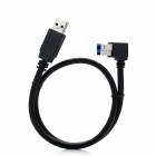 USB 3.0 Type-A Male to Type-B Male Right Angle Data Cable for HDD / Printer - Black (0.5m)