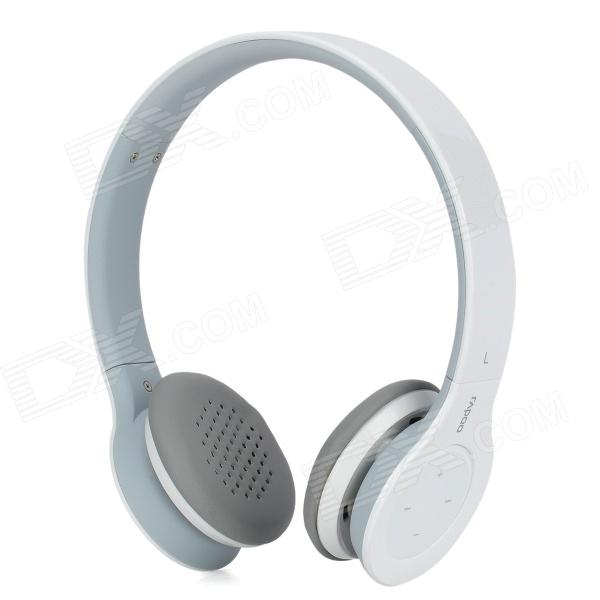 Rapoo H6060 Wireless Bluetooth V2.1 Stereo Headphones w/ Mic + Touch Volume Control - White + Grey rapoo h6080 folding bluetooth v4 0 microphones w voice recognition white blue