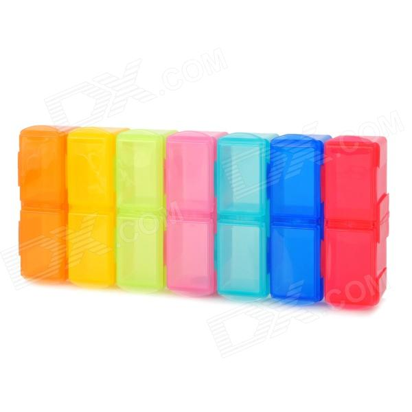 C-14 7-in-1 14-Grid Detachable Pill Capsule Management Storage Case - Multi-Color