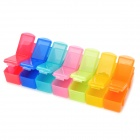 C-14 7-in-1 14-Grid Irrotettava Pill Capsule Management Storage Case - Multi-Color