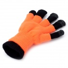 Stylish Capacitive Screen Touch Touching Hand Warmer Gloves - Orange + Black (Pair)