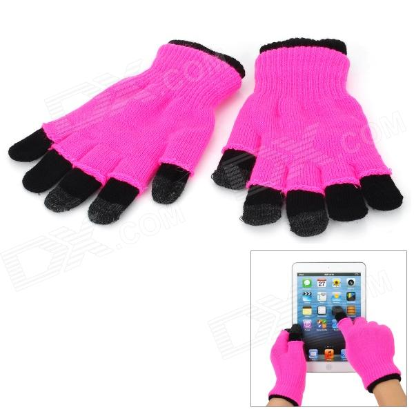 Capacity Touch Screen Cotton Wool Hands Warmer Gloves for Iphone + More - Black + Deep Pink (Pair)