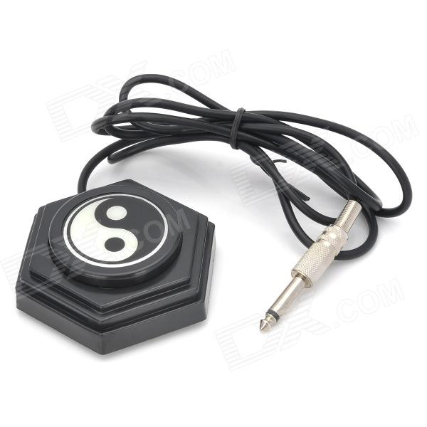 J51010 Tai Chi Pattern Tattoo Foot Pedal Switch for Machine Power Supply - Black wholesale price stainless steel foot switch pedal tattoo clip cord for tattoo mahcine tattoo power supply free shipping