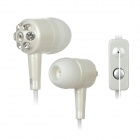 Retractable Stylish In-Ear Earphones w/ Microphone for Iphone 4 / 4S / Samsung / HTC - White