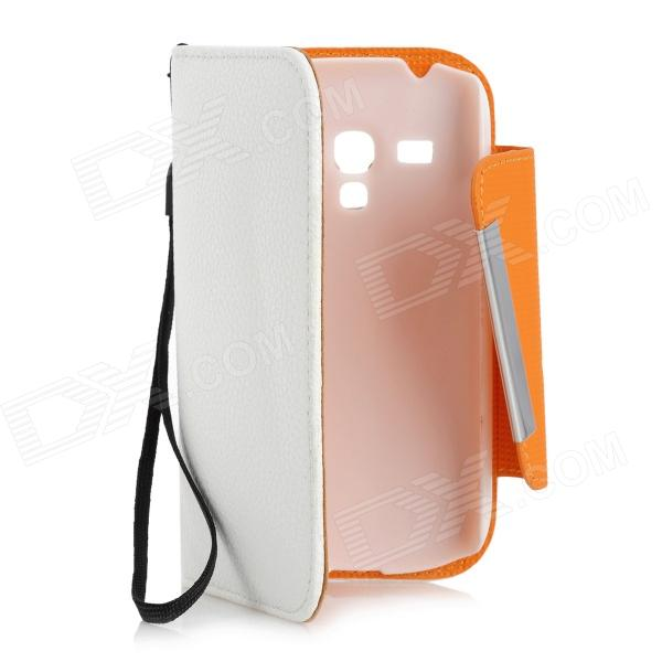 Lychee Pattern Protective PU Leather Case w/ Strap for Galaxy SIII Mini - White + Orange lychee texture pu leather magnetic flip pouch protective case for ipad mini 2 3 white