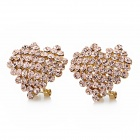 Cute Heart Shape Cooper Alloy + Rhinestone Earrings - Golden (Pair)