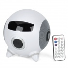 "HR-188 Portable 1.5"" LCD Bass Speaker w/ TF Card Slot / USB Port / FM / Remote Controller - White"