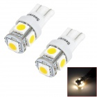 SENCART T10 1.2W 3500K 70lm 5-SMD 5050 LED Warm White Light Brake Lamp (12V / 2 PCS)