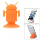 Android Style Silicone Suction Cup Stand Holder for Cellphones w/ Mirror / Glossy Back - Orange