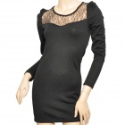 YLY-6839 Shinning Gold Powder Sexy Lace Slim Dress for Women - Black