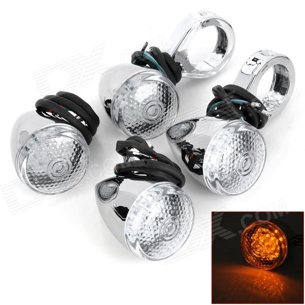 Bullet Shaped 2.7W 90lm 18-LED Yellow Light Motorcycle Steering Lamps (12V / 60cm / 4 PCS) skull head style 1w 4 led 60lm yellow light motorcycle steering lamps silver 12v