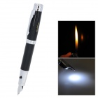 3-in-1 Fountain Pen w/ Butane Lighter + White Illuminating Light - Black + Silver (3 x AG4)
