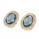 Elegant Lady Pattern Cooper Alloy + Rhinestone Earrings - Golden + Blue (Pair)