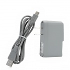 Interchangeable AC Power Adapter w/ USB Cable for Wii U GamePad - Grey (2-Flat-Pin Plug / 100~240V)