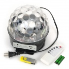 SK-1 Sound Control 3W 9-Mode RGB 6-LED Crystal Magic Ball Light w/ Control + USB Flash Disk - Black