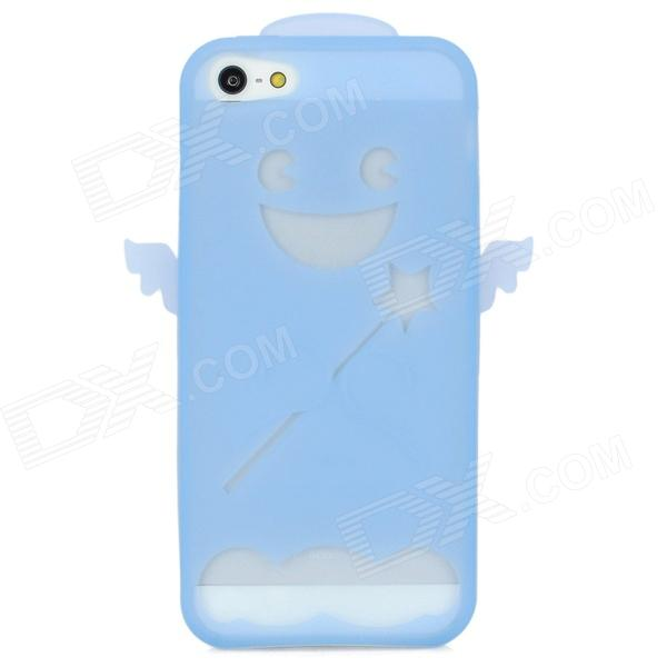 Angel Style Protective Silicone Case w/ 5H Screen Protector for Iphone 5 - Light Blue