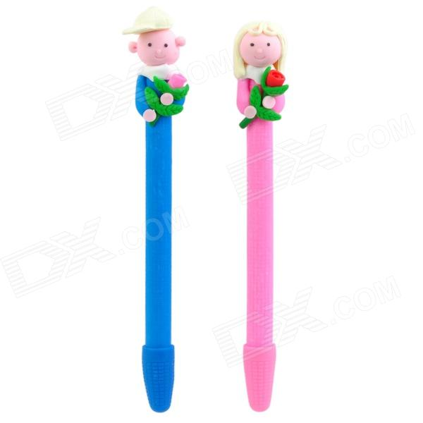 ZX-5189 Cute Rose Men & Women Style Soft Ceramic Ball Point Pens - Multi-Colored (2 PCS) gel roller ball pen black or chrome silver to choose baoer 3035 office and school signature pens free shipping