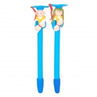 ZX-5690 Cute Boy & Girl Doctor Hat Doll Polymer Clay Ballpoint Pens - Blue + White + Pink (2 PCS)