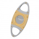 Dual Blades Stainless Steel Pull Type Pocket Cigar Cutter Knife - Golden + Silver