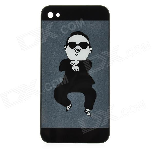 Replacement PSY Pattern Repair Part Back Cover for iPhone 4S - Black + Deep Grey