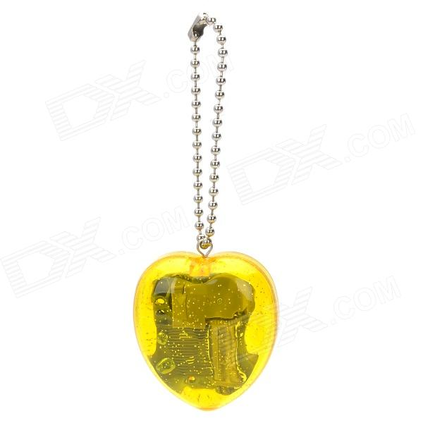 Delicate Mechanical Heart Shaped Acrylic Music Box w/ Keychain - Yellow
