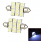 LY142 Festoon 39mm 2.7W 6000K 108lm 12-SMD 5050 LED White Light Indoor Lamps (2 PCS / 12V)