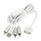 Composite 30 Dock Pin Male to 3-RCA AV Cable w/ USB Connector for iPod / iPad + More - White (150cm)