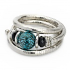 Snake Bone Style Lady's Aluminum Alloy + Resin Flexible Bracelet - Silver + Blue