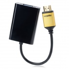 CY HD-106 HDMI Male to VGA Adapter Cable w/ Audio Jack / Micro USB - Black + Golden (12cm)