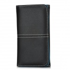 Protective PU Leather Flip-Open Wallet Case w/ Card Slot for Iphone 5 - Black + Blue