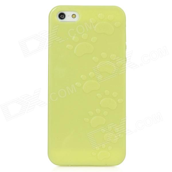 Cute Paw Print Style Protective TPU Back Case for Iphone 5 - Fluorescent Yellow