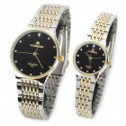 LAOGESHI 425-1 Couple's Analog Quartz Wrist Watches - Black + Silver + Golden