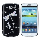 Butterfly Relief CrystalProtective Plastic Back Case for Samsung Galaxy S3 i9300 - Black