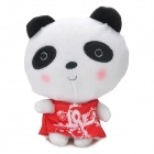 Cute Red Dress Panda Short Plush + PP Cotton Car Decoration Doll w/ Suction Cup - White