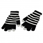 Stripe Pattern Capacitive Screen Touch Touching Hand Warmer Gloves - Black + White (2 PCS)