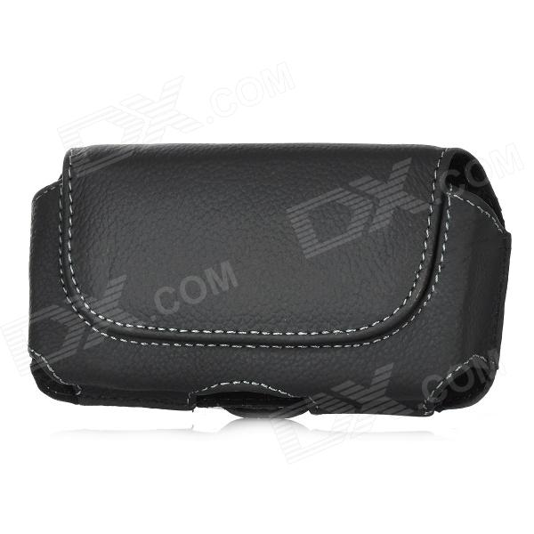 Protective PU + Cloth Flip-Open Case w/ Magnet + Clip for Iphone 5 - Black