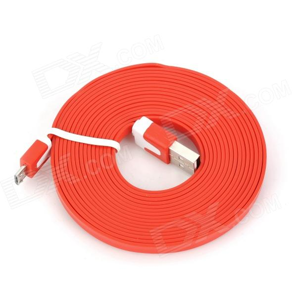 Flat USB Charging Cable w/ Micro USB V8 Port for Samsung / HTC - Red (300CM)