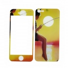 22010172 Kid Fishing Protective Plastic Clear Screen + Back Protector for Iphone 5 - Yellow