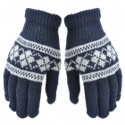 ST001 Stylish Knitting Wool Warm Gloves for Men - Dark Blue + Grey (Free Size / Pair)