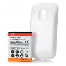 Replacement 3.7V 3500mAh Battery Pack w/ Back Cover for Samsung Galaxy S3 Mini I8190 - White