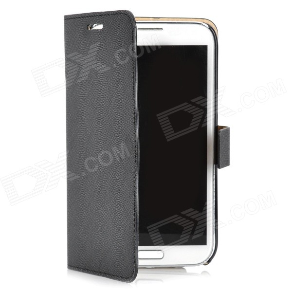 Flip-Open Protective PU Leather Case for Samsung Galaxy Note II N7100 - Black