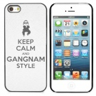 Gangnam Style Keep Calm PSY Pattern Protective Back Case for iPhone 5 - Grey White + Black