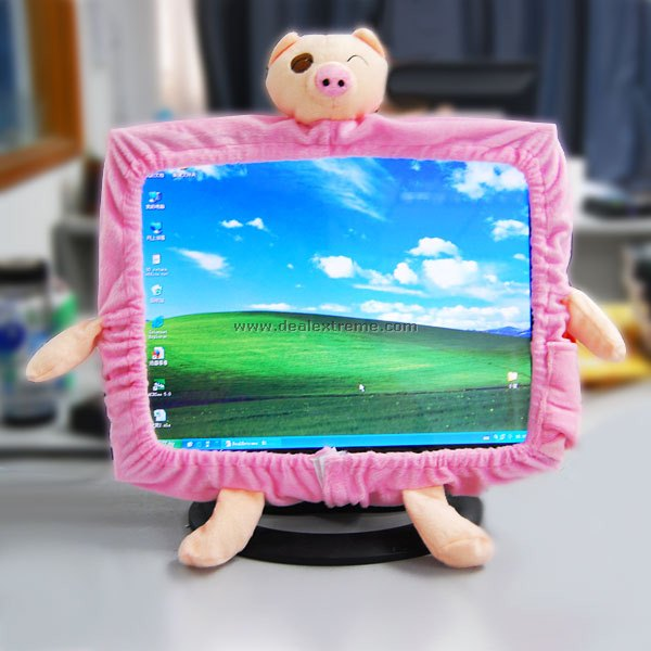 Decorative Pink Fabric Piglets for Computer Monitor (Stretchable) buy monitor for computer