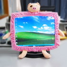 Decorative Pink Fabric Piglets for Computer Monitor (Stretchable)