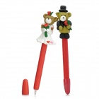 ZX-5188 Cute Bear Lovers Doll Polymer Clay Ballpoint Pens - Black + Brown + White (2 PCS)